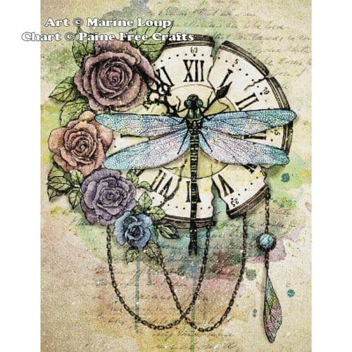 Dragonfly Clock by Paine Free Crafts printed cross stitch chart